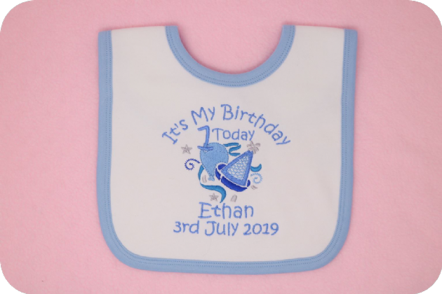First 1st 2nd Birthday Bib personalised with date